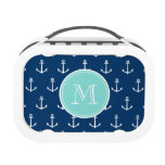 Navy Blue White Anchors Pattern, Mint Green Monogr Lunch Box