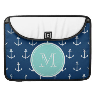 Navy Blue White Anchors Pattern, Mint Green Monogr MacBook Pro Sleeve