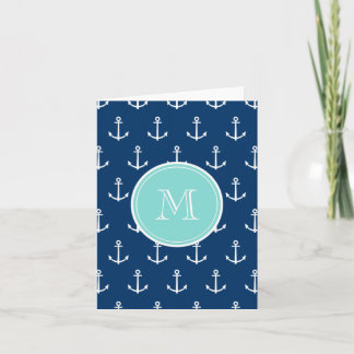 Navy Blue White Anchors Pattern, Mint Green Monogr Note Card