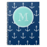 Navy Blue White Anchors Pattern, Mint Green Monogr Note Book
