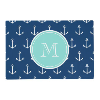 Navy Blue White Anchors Pattern, Mint Green Monogr Laminated Place Mat