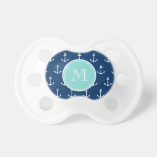 Navy Blue White Anchors Pattern, Mint Green Monogr Pacifiers