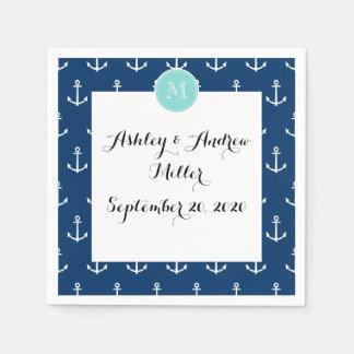 Navy Blue White Anchors Pattern, Mint Green Monogr Paper Napkin