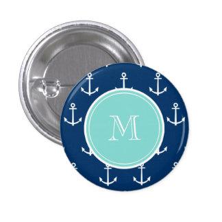 Navy Blue White Anchors Pattern, Mint Green Monogr Pinback Button