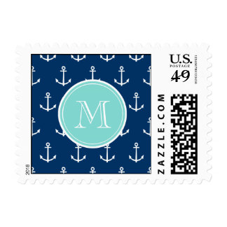 Navy Blue White Anchors Pattern, Mint Green Monogr Postage