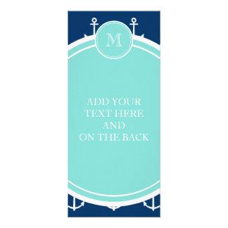 Navy Blue White Anchors Pattern, Mint Green Monogr Rack Card