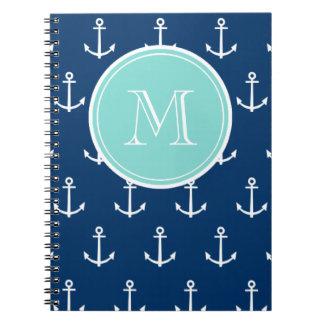 Navy Blue White Anchors Pattern, Mint Green Monogr Spiral Notebook