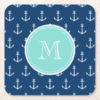 Navy Blue White Anchors Pattern, Mint Green Monogr Square Paper Coaster