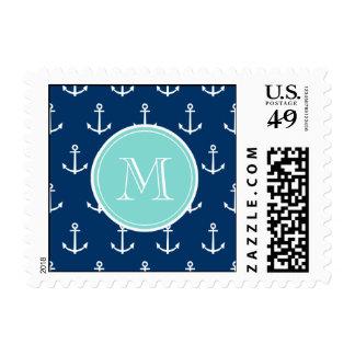 Navy Blue White Anchors Pattern, Mint Green Monogr Stamp