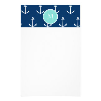 Navy Blue White Anchors Pattern, Mint Green Monogr Stationery
