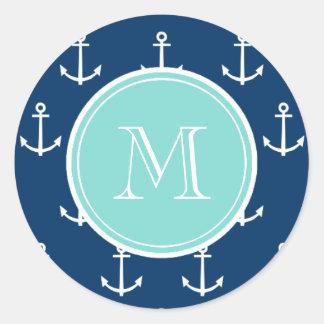 Navy Blue White Anchors Pattern, Mint Green Monogr Classic Round Sticker