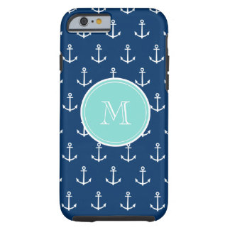 Navy Blue White Anchors Pattern, Mint Green Monogr Tough iPhone 6 Case