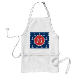 Navy Blue White Anchors Pattern, Red Monogram Adult Apron