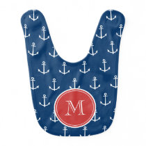 Navy Blue White Anchors Pattern, Red Monogram Baby Bib