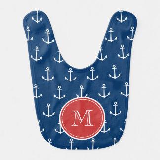 Navy Blue White Anchors Pattern, Red Monogram Baby Bib