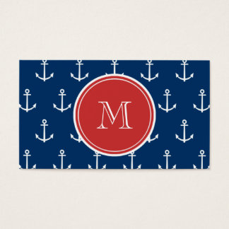 Navy Blue White Anchors Pattern, Red Monogram Business Card