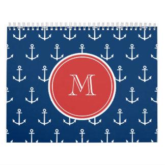Navy Blue White Anchors Pattern, Red Monogram Calendar