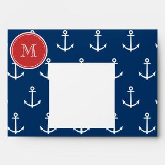 Navy Blue White Anchors Pattern Red Monogram Envelopes