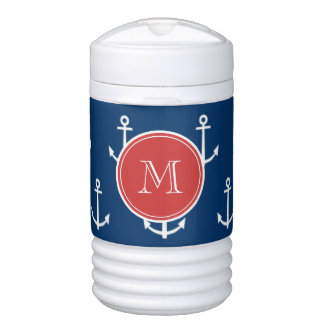 Navy Blue White Anchors Pattern, Red Monogram Igloo Beverage Dispenser