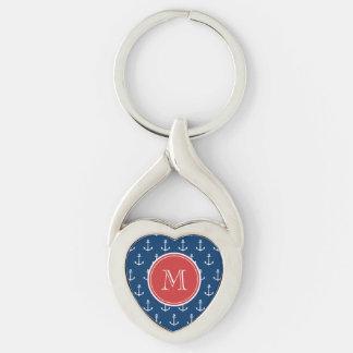 Navy Blue White Anchors Pattern, Red Monogram Keychain