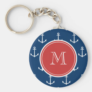 Navy Blue White Anchors Pattern Red Monogram Key Chains