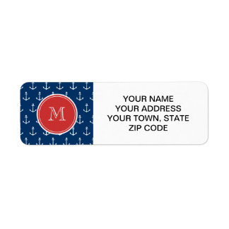 Navy Blue White Anchors Pattern, Red Monogram Label