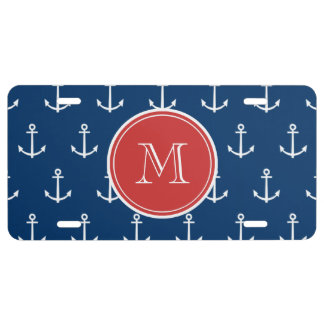 Navy Blue White Anchors Pattern, Red Monogram License Plate