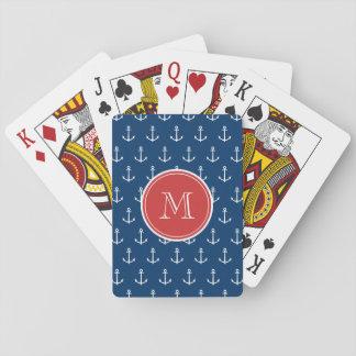 Navy Blue White Anchors Pattern, Red Monogram Poker Cards