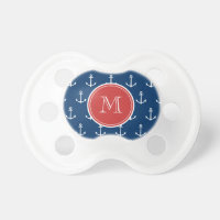 Navy Blue White Anchors Pattern, Red Monogram Pacifier