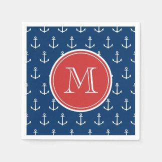 Navy Blue White Anchors Pattern, Red Monogram Paper Napkins
