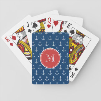 Navy Blue White Anchors Pattern, Red Monogram Playing Cards