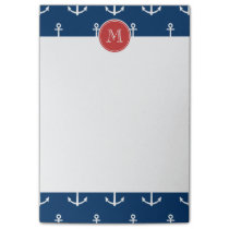 Navy Blue White Anchors Pattern, Red Monogram Post-it Notes