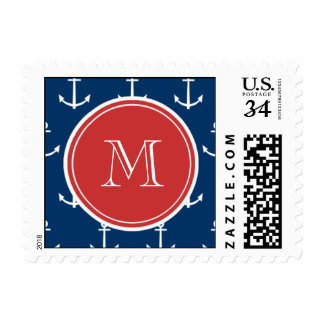 Navy Blue White Anchors Pattern, Red Monogram Postage