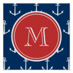 Navy Blue White Anchors Pattern, Red Monogram Poster