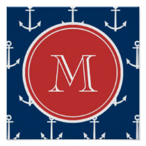 Navy Blue White Anchors Pattern, Red Monogram Poster