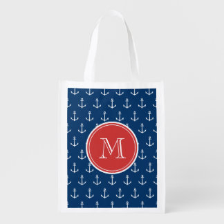 Navy Blue White Anchors Pattern, Red Monogram Reusable Grocery Bag