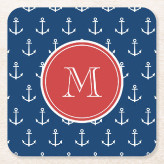Navy Blue White Anchors Pattern, Red Monogram Square Paper Coaster