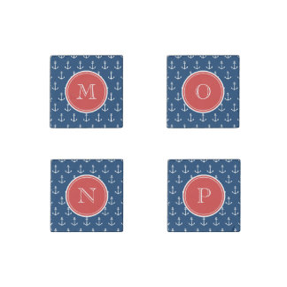 Navy Blue White Anchors Pattern, Red Monogram Stone Magnet