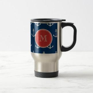 Navy Blue White Anchors Pattern, Red Monogram Travel Mug