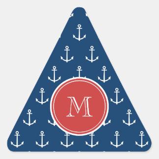 Navy Blue White Anchors Pattern, Red Monogram Triangle Sticker