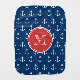 Navy Blue White Anchors Pattern, Red Monogram Burp Cloth