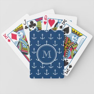 Navy Blue White Anchors Pattern, Your Monogram Bicycle Playing Cards