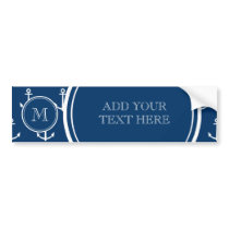 Navy Blue White Anchors Pattern, Your Monogram Bumper Sticker