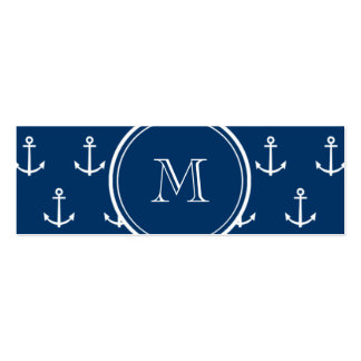 Navy Blue White Anchors Pattern, Your Monogram Business Card Template