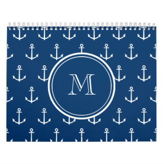 Navy Blue White Anchors Pattern, Your Monogram Wall Calendars