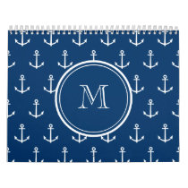 Navy Blue White Anchors Pattern, Your Monogram Calendar