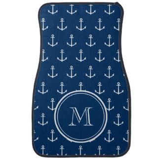 Navy Blue White Anchors Pattern, Your Monogram Car Mat