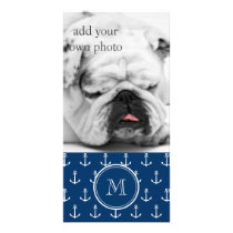 Navy Blue White Anchors Pattern, Your Monogram Card