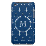 Navy Blue White Anchors Pattern, Your Monogram Barely There iPod Cover