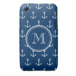 Navy Blue White Anchors Pattern, Your Monogram Case-Mate iPhone 3 Cases